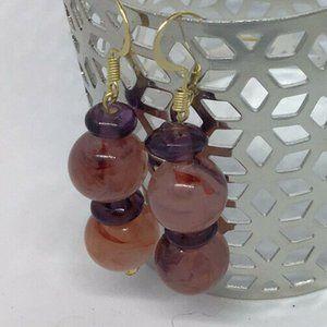 Artisan Earrings Gold Tone Stone Bead Dangle